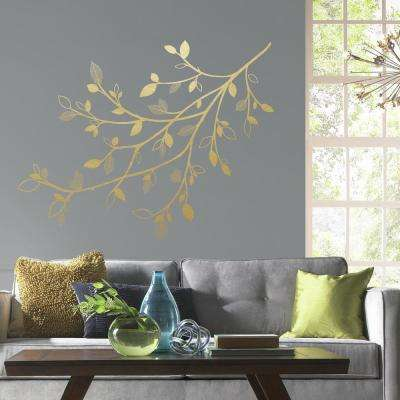 5 in. x 19 in. Gold Branch 47-Piece Peel and Stick Giant Wall Decals with 3D Leaves