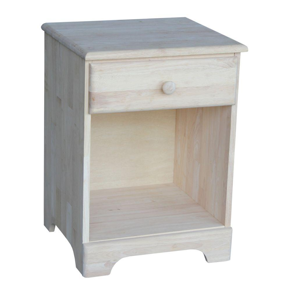 1 drawer unfinished wood nightstand