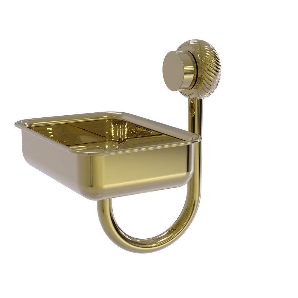 Venus Collection Wall Mounted Soap Dish with Twisted Accents in Unlacquered