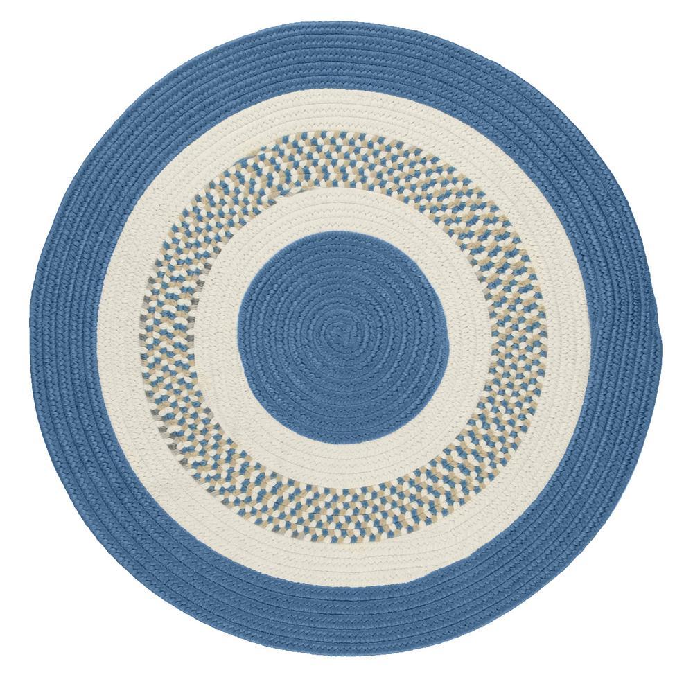Spiral II Blue Ice 4 ft. x 4 ft. Indoor/Outdoor Round Area Rug