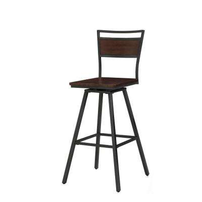 Tolar 30 in. Walnut Swivel Bar Stool