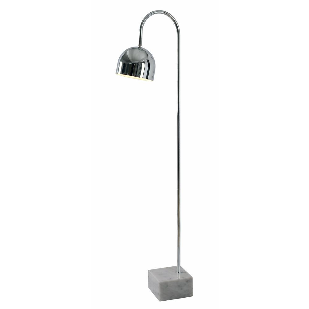 Maverick 54 in. Chrome Floor Lamp with Chrome Shade