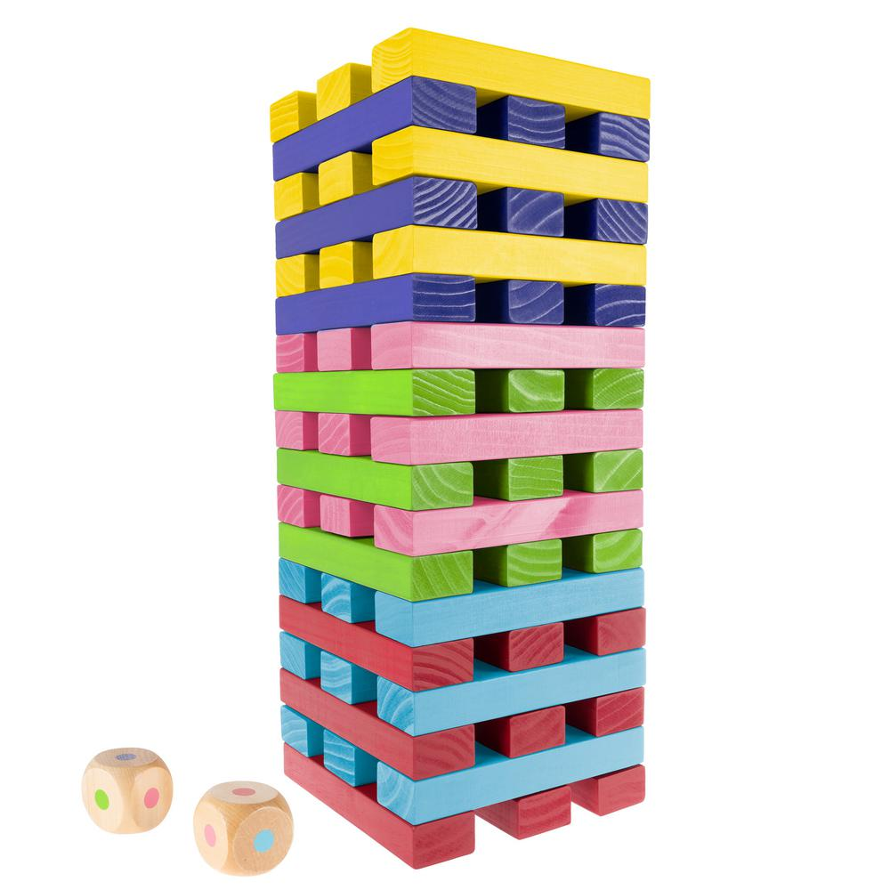 Hey Play Nontraditional Giant Wooden Rainbow Blocks Tower Stacking Game