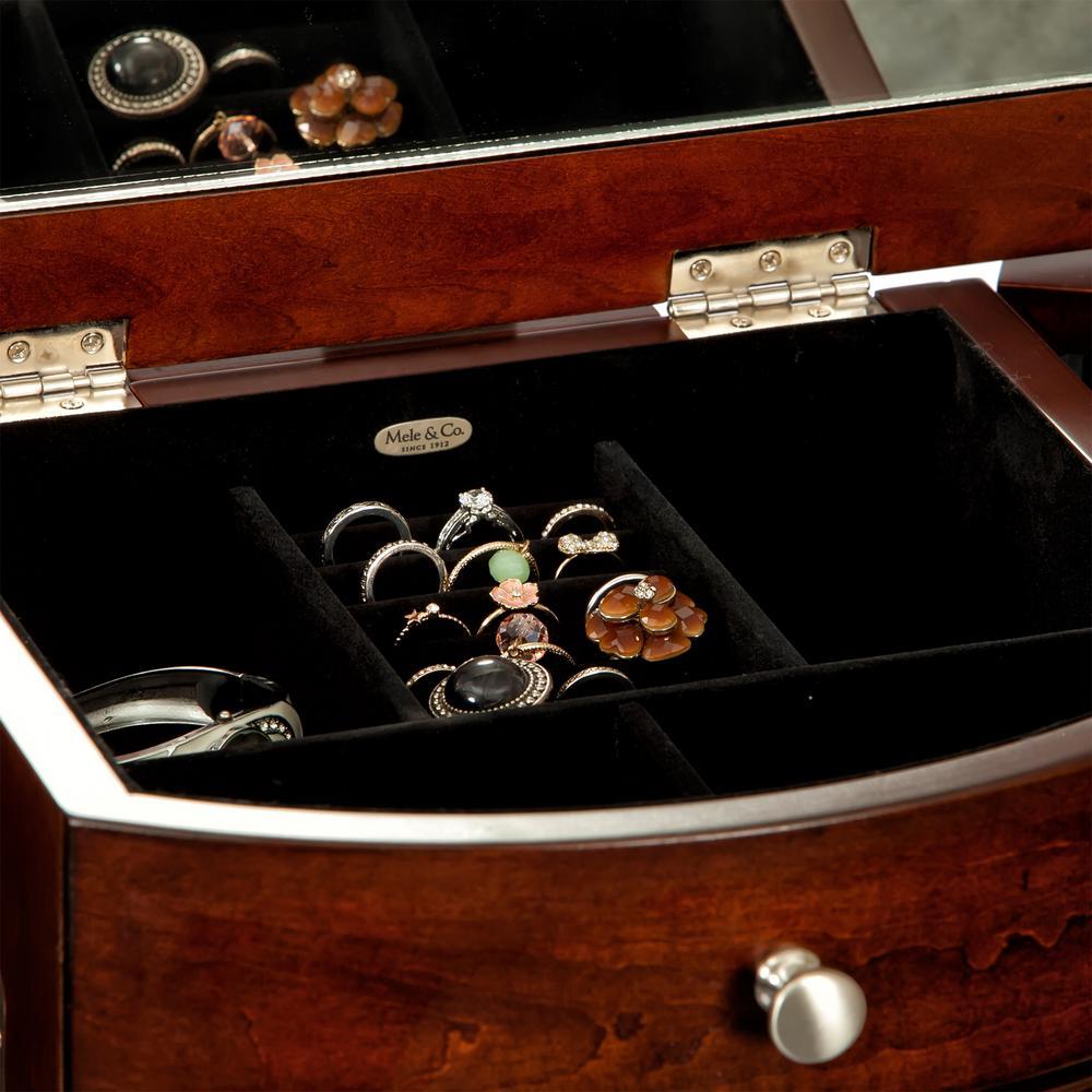 Mele Corsica Dark Walnut Finish Wooden Jewelry Armoire00916F16