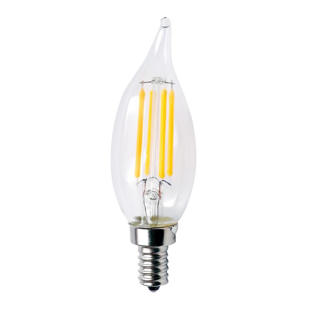 60-Watt Equivalent 5.5-Watt CA10 Dimmable LED Clear Filament Antique Vintage E12 Light Bulb Warm White