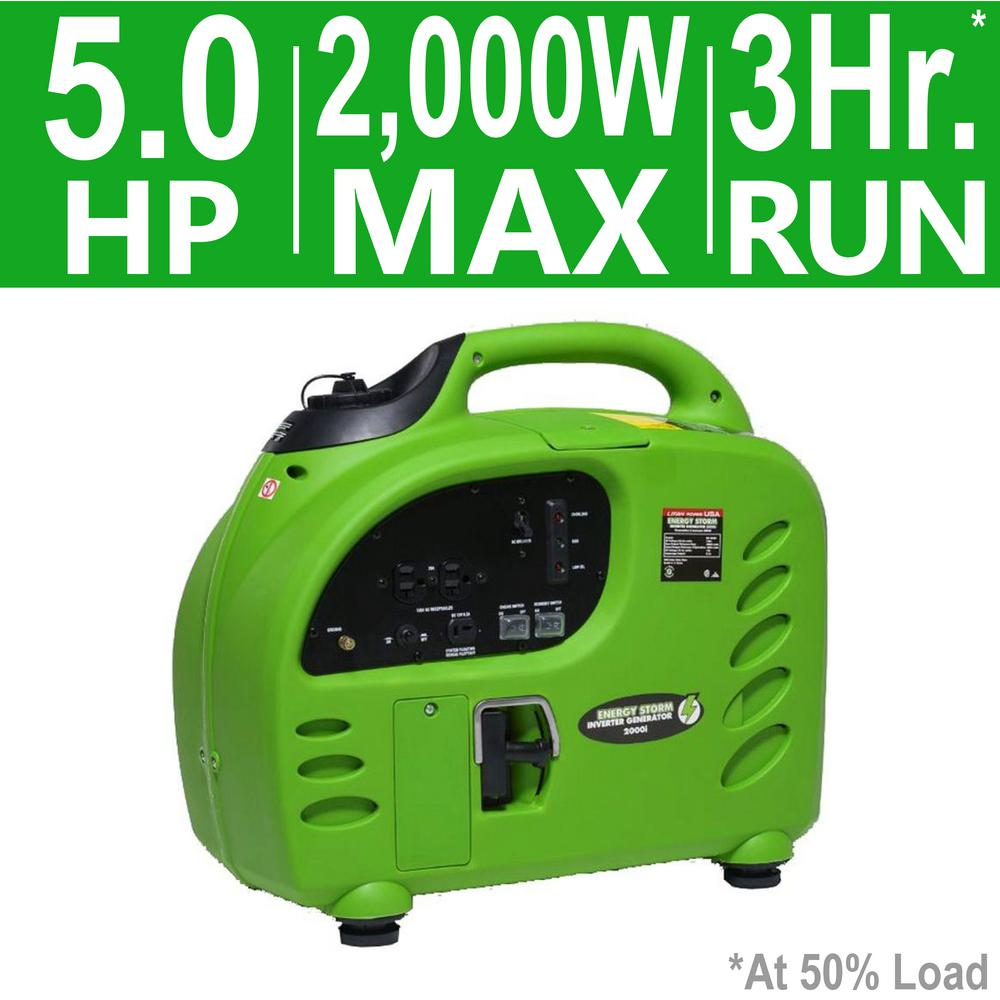 LIFAN Energy Storm 2,000-Watt 105cc Gasoline Powered Inverter Generator- 50 State Compliant