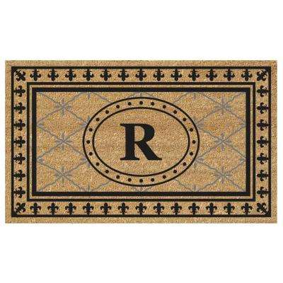 Bungalow 18 in. x 30 in. SuperScraper Vinyl/Coir Monogrammed R Door Mat