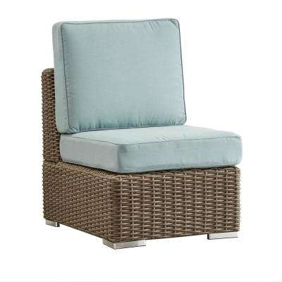 Camari Mocha Wicker Armless Middle Outdoor Sectional Chair with Blue Cushion