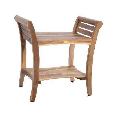 EarthyTeak Symmetry 24 in. Teak Shower Bench with Shelf And LiftAide Arms