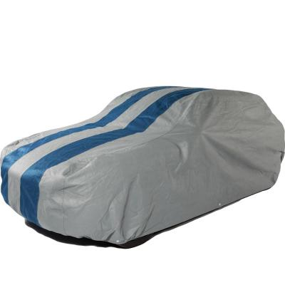 1 Pack Duck Covers A4C157 Rally X Defender Grey with Navy Blue Rally Stripes 157L x 60W x 48H Car Cover Fits Sedans up to 13 ft. 1 in. L