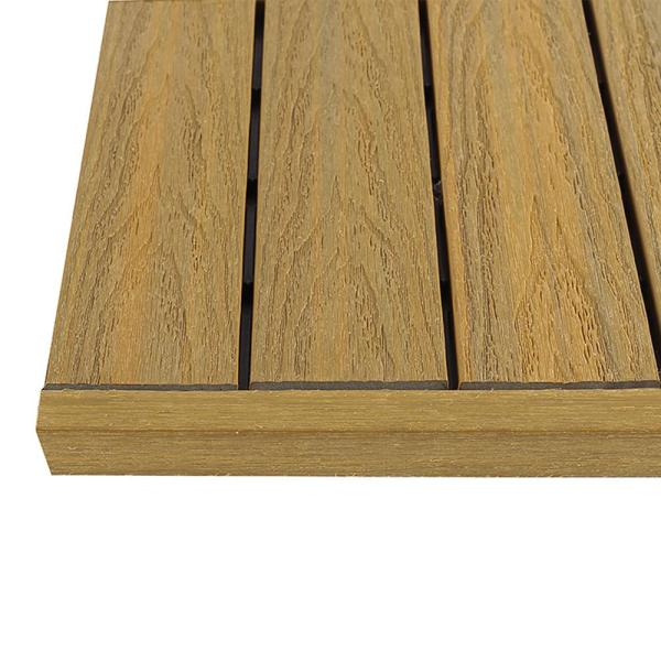 1/6 ft. x 1 ft. Quick Deck Composite Deck Tile Straight Trim in English Oak (4-Pieces/Box)