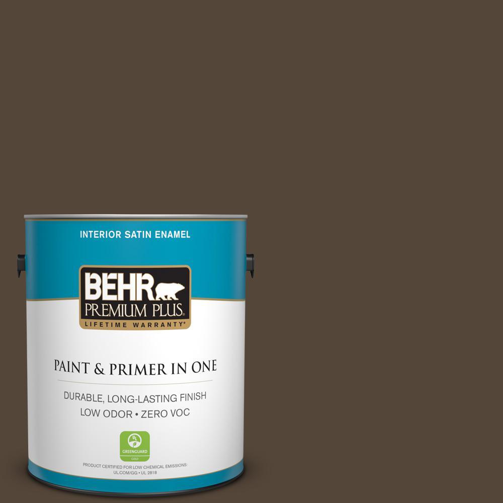 1-gal. #780B-7 Bison Brown Zero VOC Satin Enamel Interior Paint