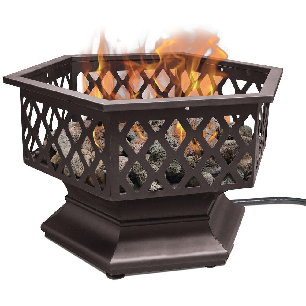 24 in. Hexagon Outdoor LP Gas Fire Pit
