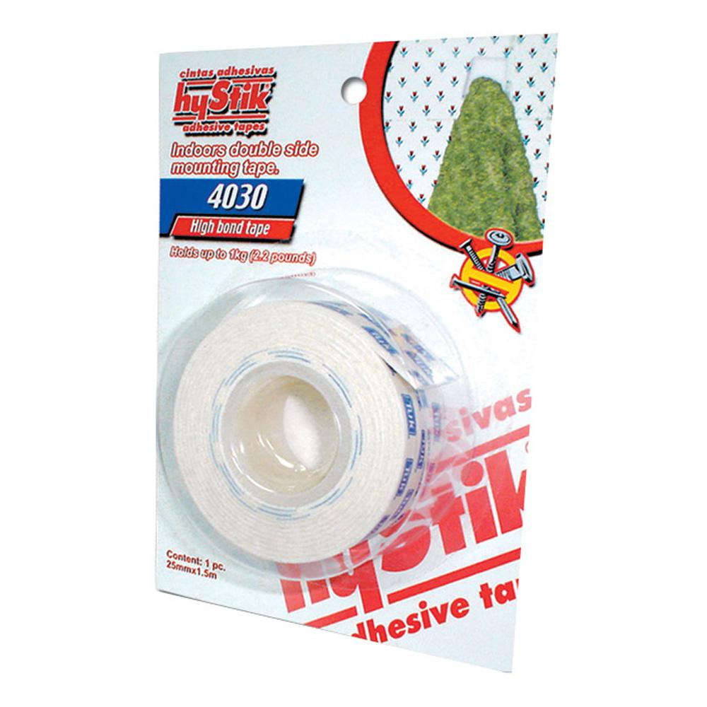 hyStik 4030 1 in. x 1.67 yds. White Interior Mounting Tape with Paper Liner (1-Roll)