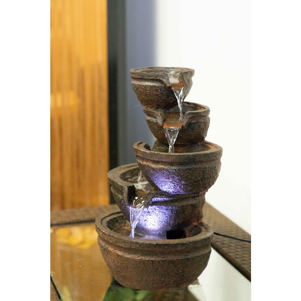 Tiering Bowls Fountain with White LED Light