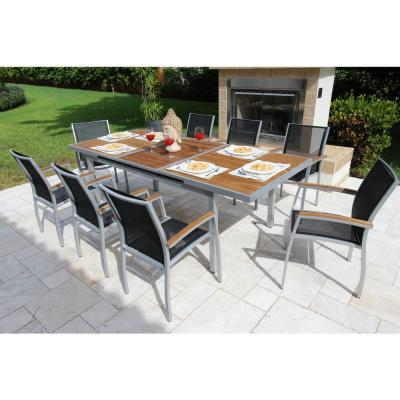 Galliano Gray 9-Piece Aluminum Outdoor Dining Set with Sling Set in Castaway