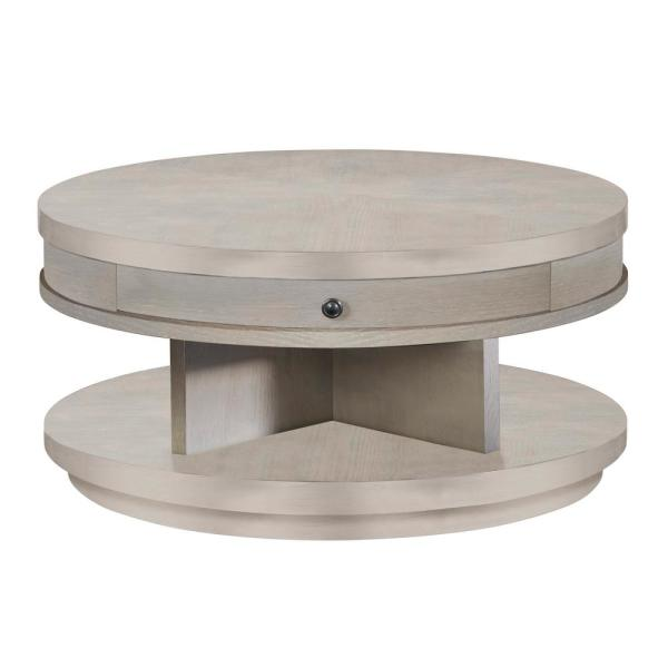 Augustine 38 in. Pearlized Gray Medium Round Wood Coffee Table with Drawers