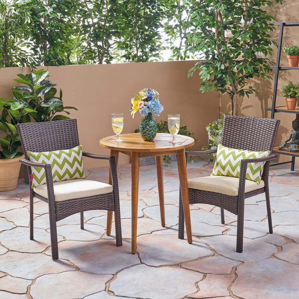 Le House Arezzo Multi Brown 3 Piece Wood And Wicker Outdoor