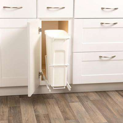 19 in. H x 14 in. W x 16 in. D Steel 35 Qt. In-Cabinet Single Pull-Out Trash Can in White
