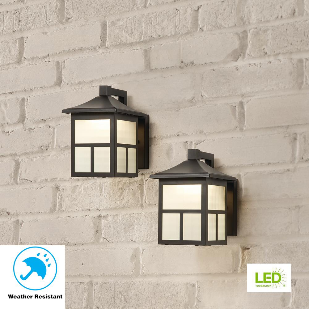 Black Outdoor Integrated LED Wall Lantern Sconce (2-Pack)