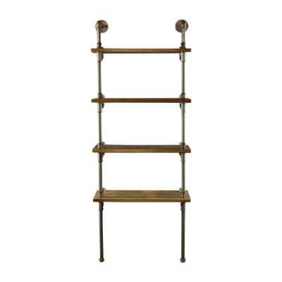 New Age 67 in. Hammered Bronze/Aged Bronze Metal 4-shelf Wall Mounted Etagere Bookcase
