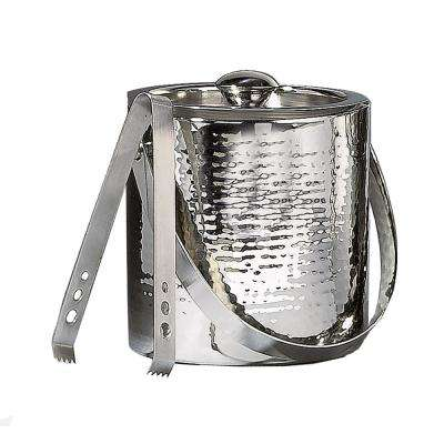 1.75 Qt. Hammered Stainless Steel Ice Bucket with Lid and Tongs