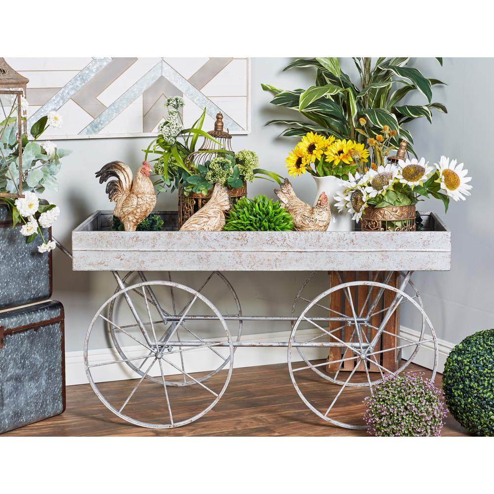 Distressed Gray Iron 4-Wheeled Wagon Planter