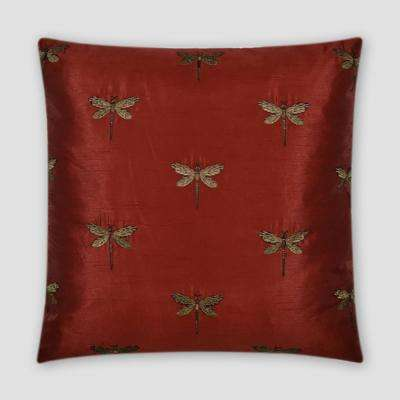 Volare Red Feather Down 20 in. x 20 in. Standard Decorative Throw Pillow