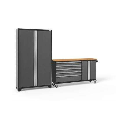 Bold Series 104 in. W x 77.25 in. H x 18 in. D 24-Gauge Welded Steel Garage Cabinet Set in Gray (2-Piece)