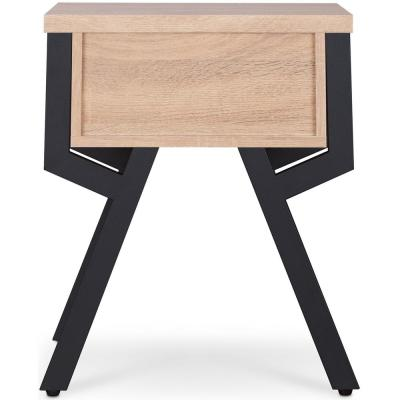 Kalina Black with Rustic Natural End Table