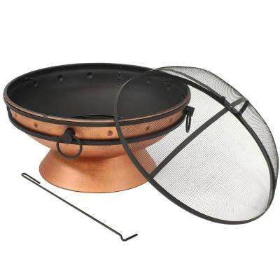 30 in. Copper Royal Cauldron Fire Pit with Handles and Spark Screen