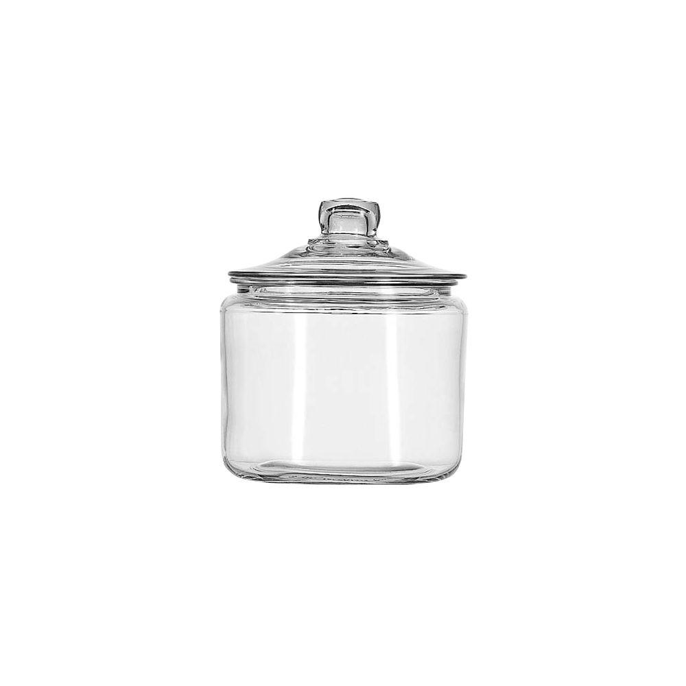 Anchor Hocking 3 qt. Heritage Hill Jar, Clear On the table, in the kitchen, and around the home, Anchor Hocking offers a wide variety of high quality consumer glassware products that are both beautiful and functional. Accent and organize the kitchen, bath or living room. From soaps and cotton balls, to flour, sugar and cookies, we have glass storage collections for every use. Color: Clear.