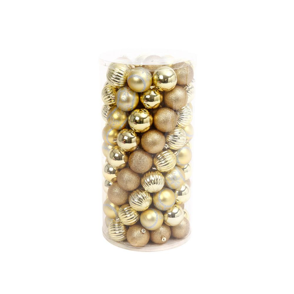 Gold Shatterproof Ball Ornaments (100-Pack)