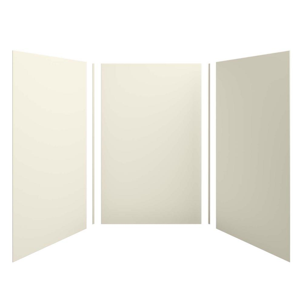 KOHLER Choreograph 60 in. x 96 in. 3-Piece Easy Up Adhesive Alcove Shower Surround in Almond
