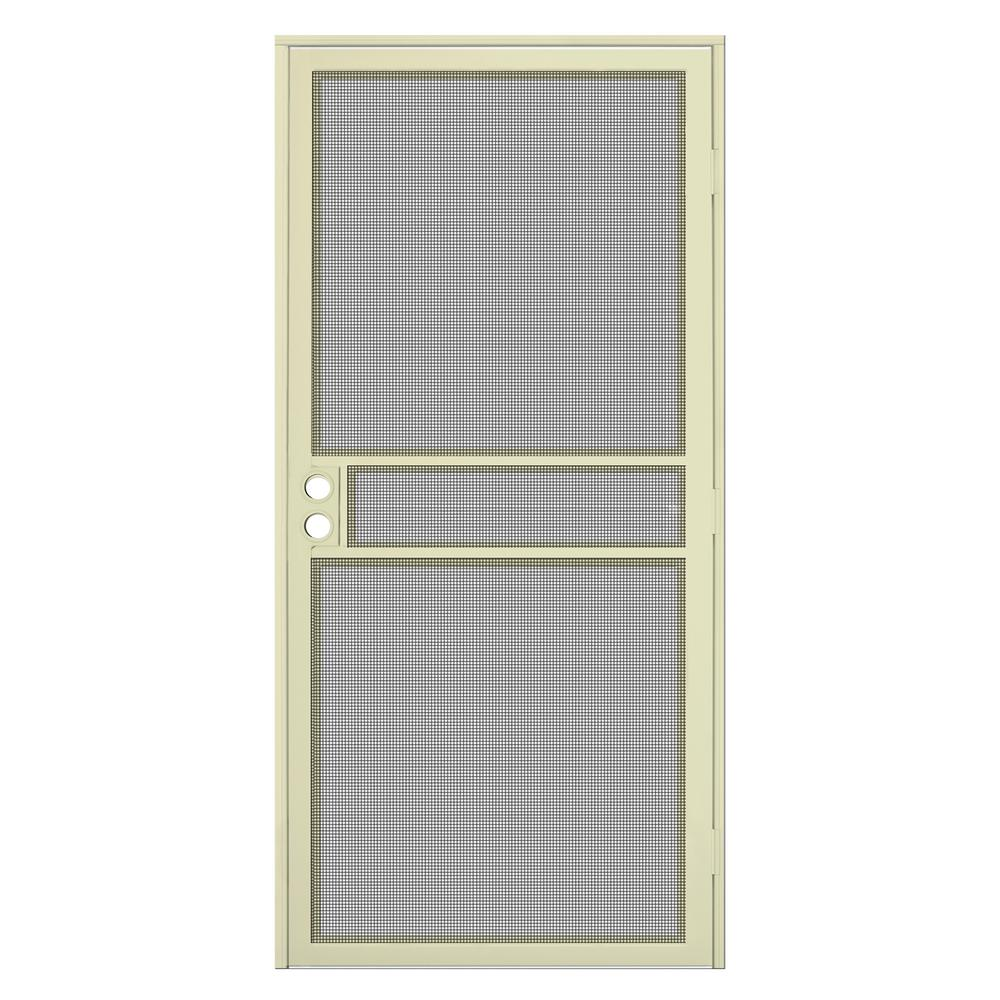 Unique Home Designs 36 In X 80 In Navajo White Surface Mount Clearguard Security Door With Meshtec Screen Idr06700el031 The Home Depot,Modern Front Gate Landscape Design
