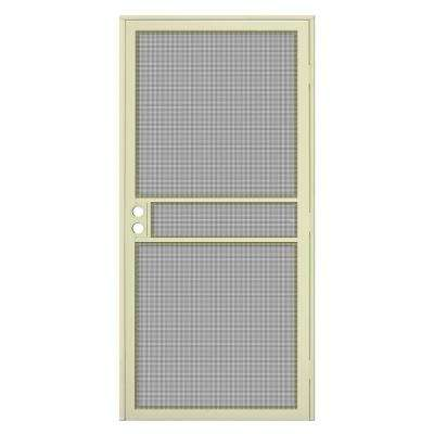 36 in. x 80 in. Navajo White Surface Mount ClearGuard Security Door with Meshtec Screen