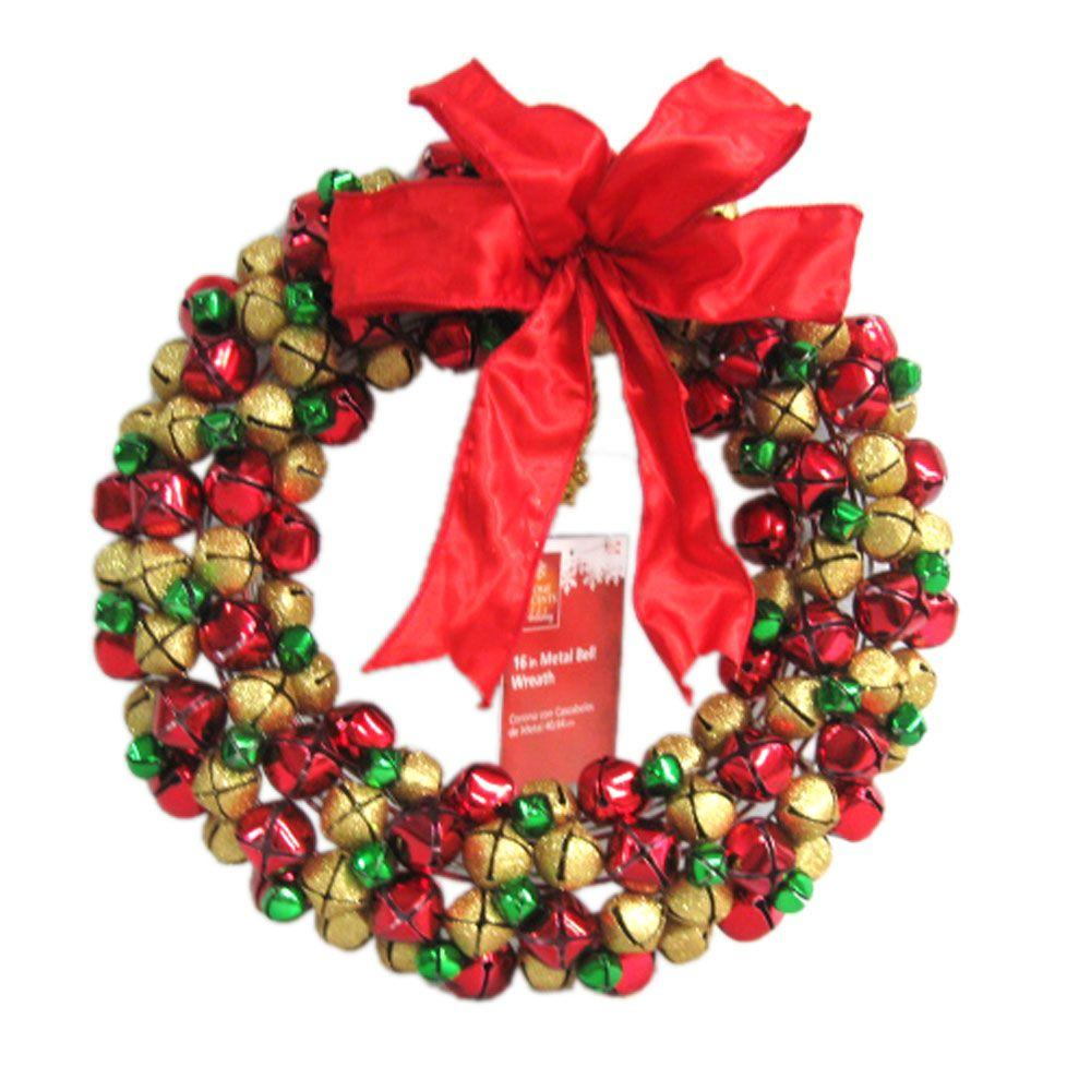 Home Accents Holiday 16 in. Metal Bell Wreath