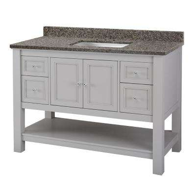 Gazette 49 in. W x 22 in. D Vanity in Grey and Granite Vanity Top in Sircolo with White Sink