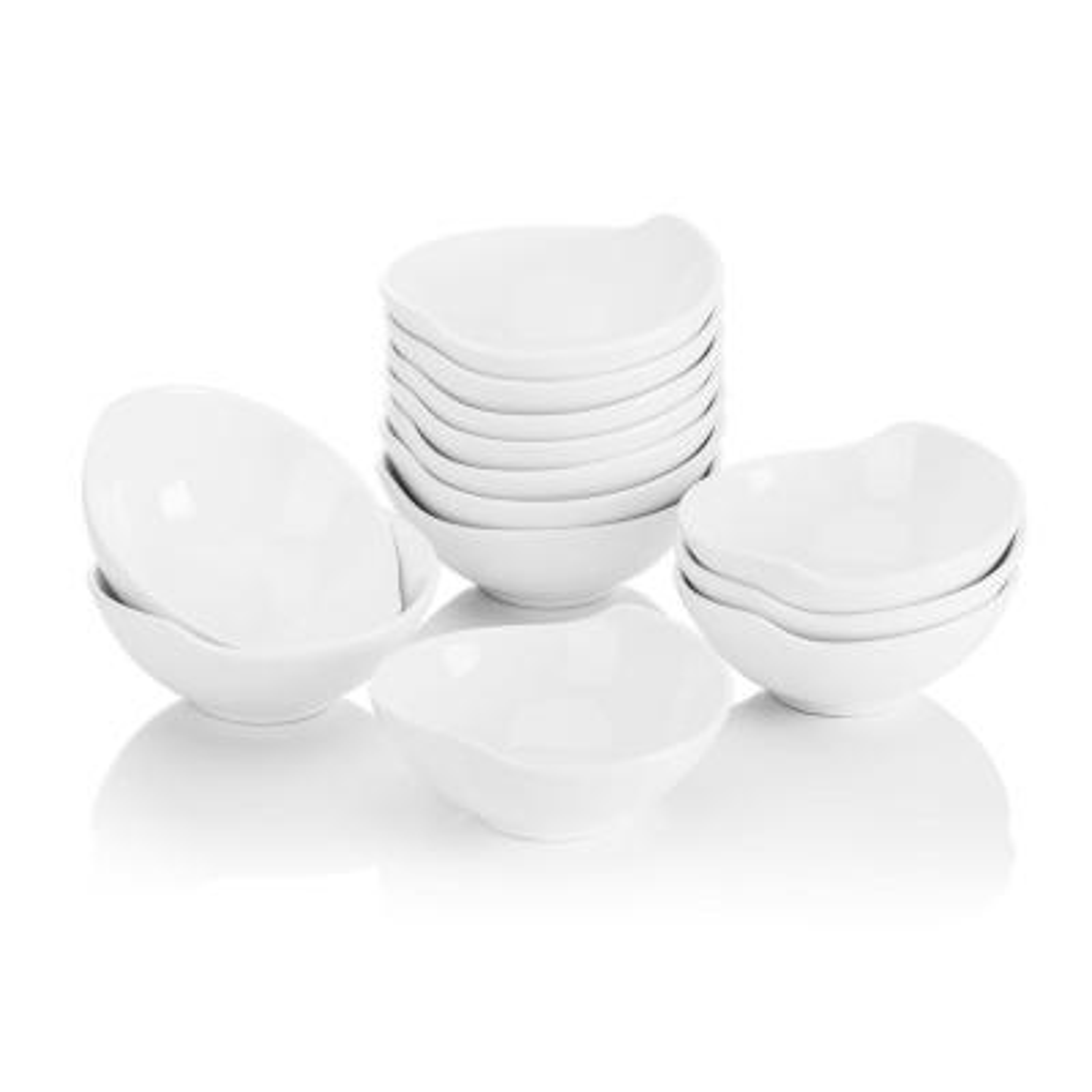 4.3 in. White Ceramic Ramekins Souffle Dishes Serving Bowls Set (Set of 12)