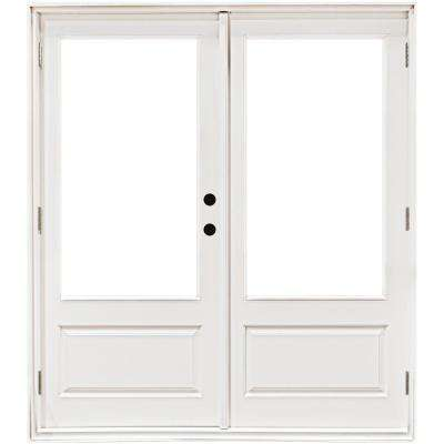 72 in. x 80 in. Fiberglass Smooth White Left-Hand Outswing Hinged 3/4 Lite Patio Door