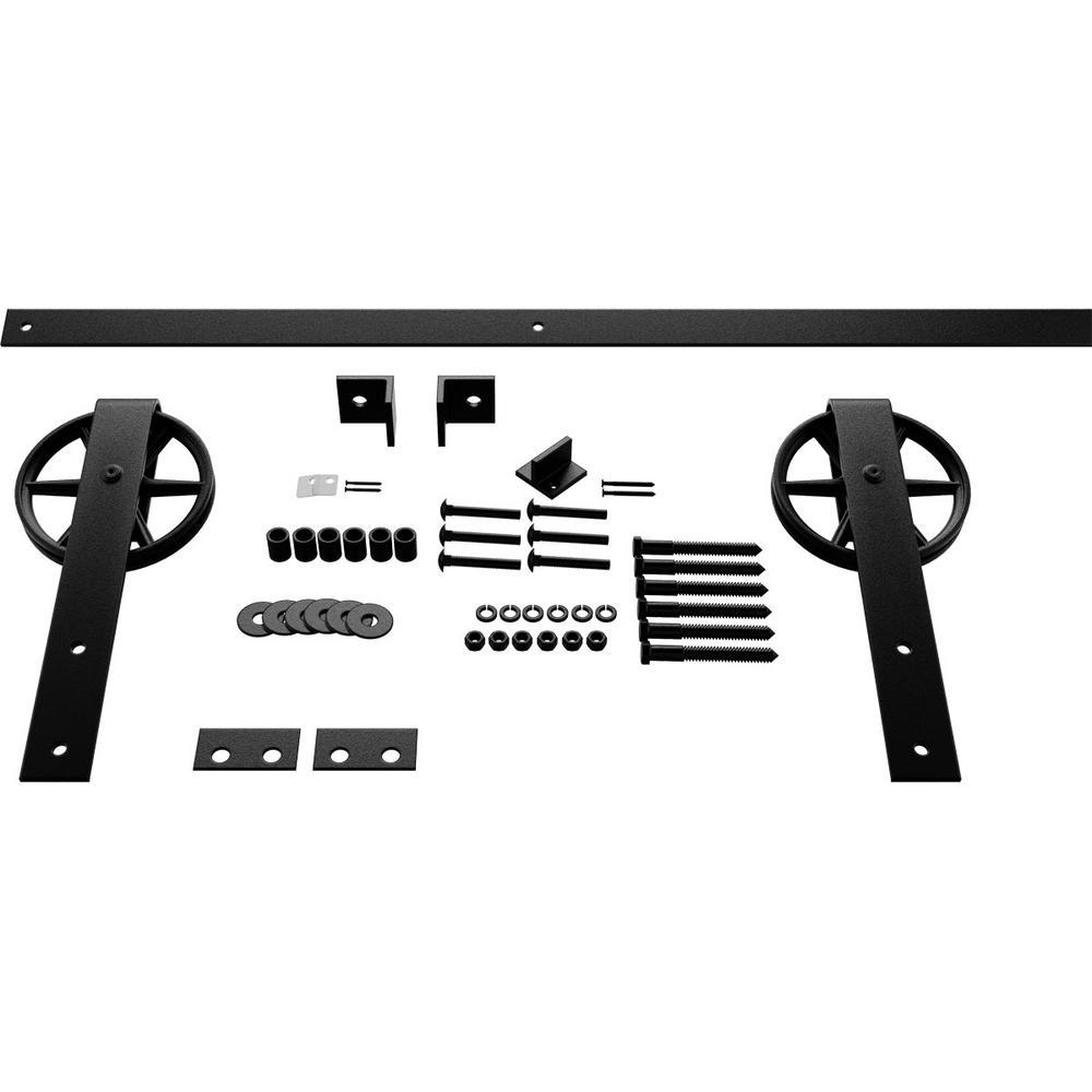 Goldberg Brothers Inc 1 5 8 In X 48 In X 13 5 8 In Steel Premium Wagon Wheel Strap Barn Door Hardware Set Moulding Matte Black Gb600144hwmb The Home Depot