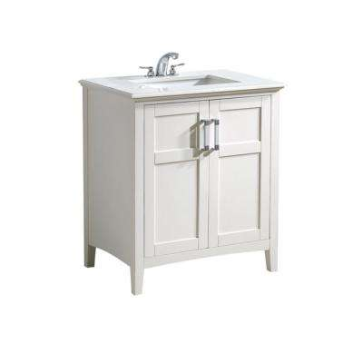 Wilshire 30 in. Bath Vanity in Pure White with Engineered Quartz Marble Vanity Top in Bombay White with White Basin
