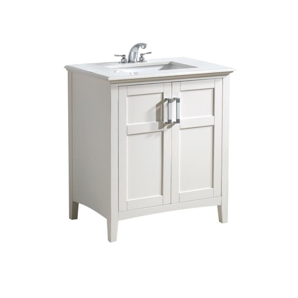 Simpli Home Winston 30 In Bath Vanity Soft White With Quartz Marble Top Ay Basin