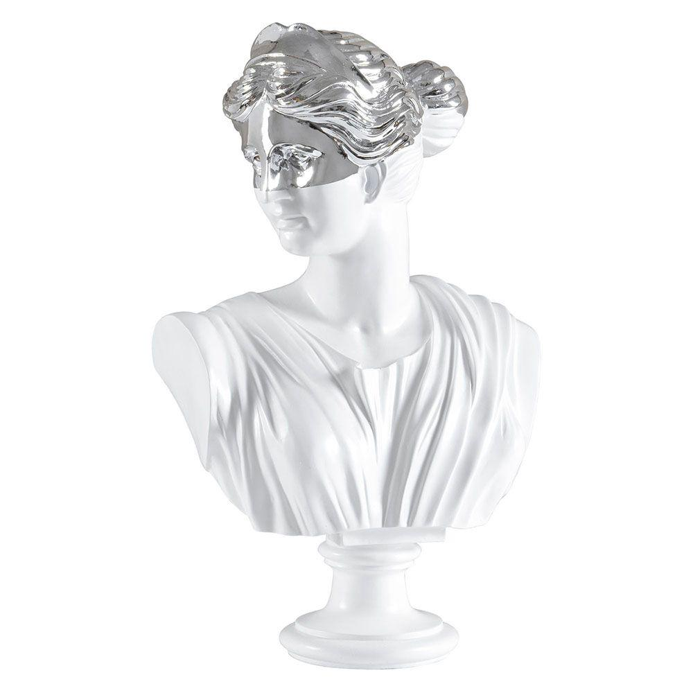 Renwil Silver Bust Decorative Statue in Silver and Matte White