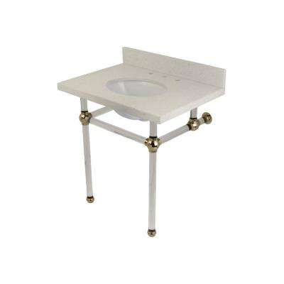 Washstand 30 in. Console Table in White Quartz with Acrylic Legs in Polished Nickel