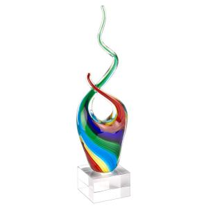11 in. Rainbow Murano Style Art Glass Abstract Centerpiece on Crystal Base