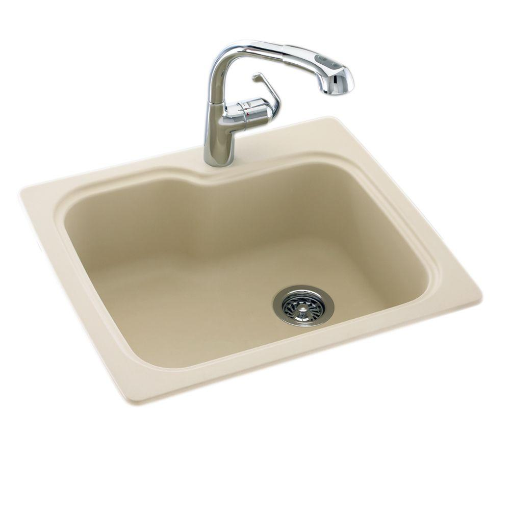 null Dual Mount Composite 25 in. x 22 in. x 9 in. 1-Hole Single Bowl Kitchen Sink in Bone