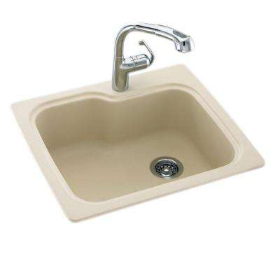 Drop-In/Undermount Solid Surface 25 in. 1-Hole Single Bowl Kitchen Sink in Bone