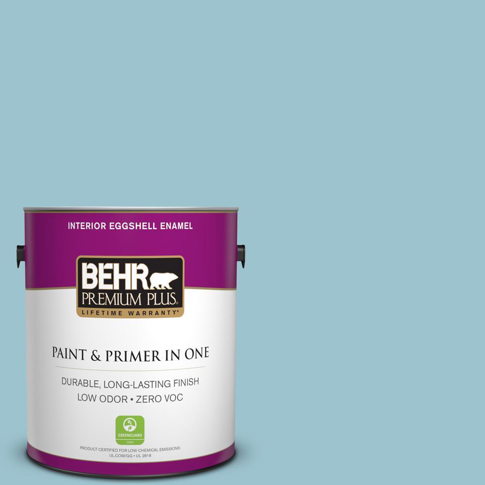 BEHR Premium Plus 1-gal. #ICC-99 Alluring Blue Zero VOC Eggshell Enamel Interior Paint