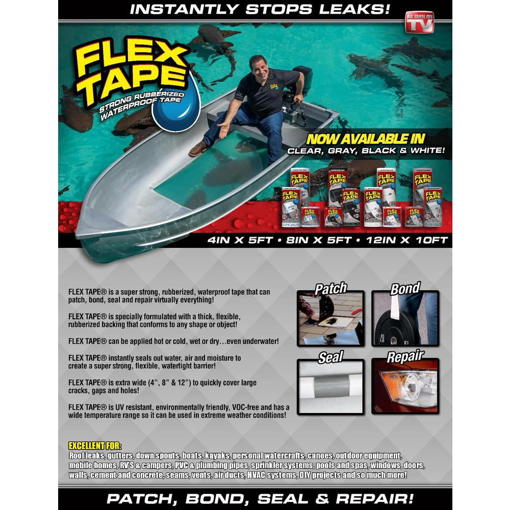 Flex Seal Family Of Products Flex Tape Black 4 In X 5 Ft Strong Rubberized Waterproof Tape Tfsblkr0405 The Home Depot